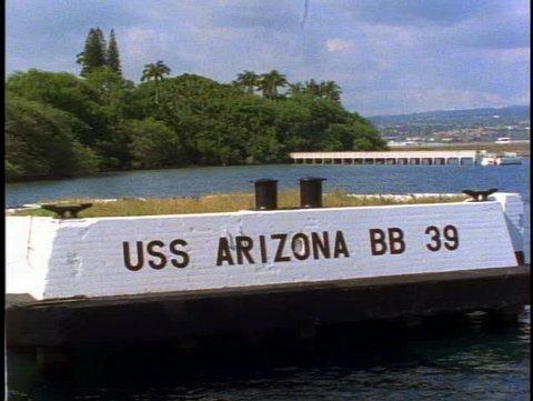 "HAWAII, 1999, The USS Arizona Memorial at Pearl Harbor, close up ""USS Arizona"""