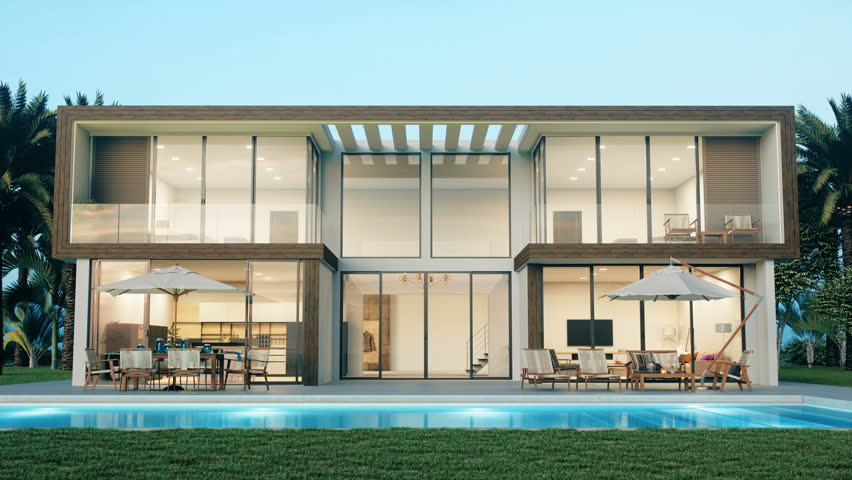 Entering The Living Room Of Modern Luxury House With Swimming Pool #1011406013