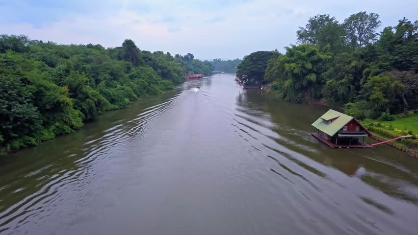 Flying over the Kwai Noi river in Kanchanaburi province, Thailand