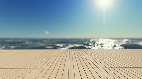 3d rendering footage of white umbrella and 2 wooden daybed on the infinity swimming pool timber terrace which have sea sunset sky as background. Cinemagraph style