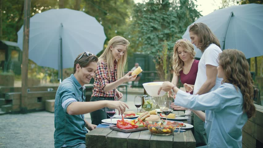 People Eating Healthy Food On Outdoor Party. | Shutterstock HD Video #1011440333