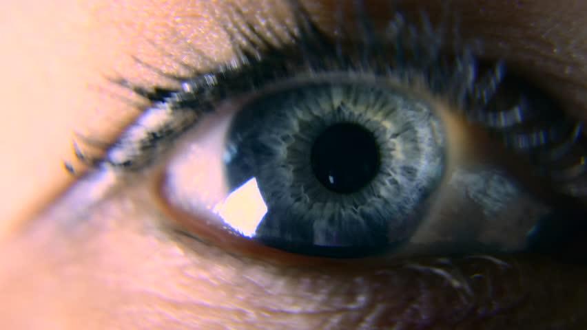 Close-up. Macro Blue Female Human Eye. Pupil Cornea Iris Eyeball Eyelashes. Blink Open Closed. 30p Slow motion 1/2 Real Time Speed 60p | Shutterstock HD Video #1011459743