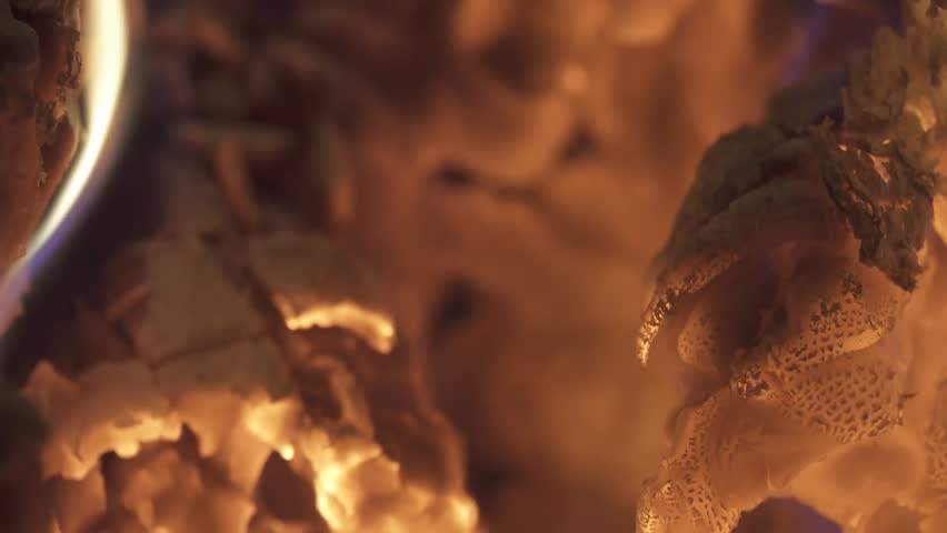 Burning firewood in fireplace close-up. | Shutterstock HD Video #1011494213