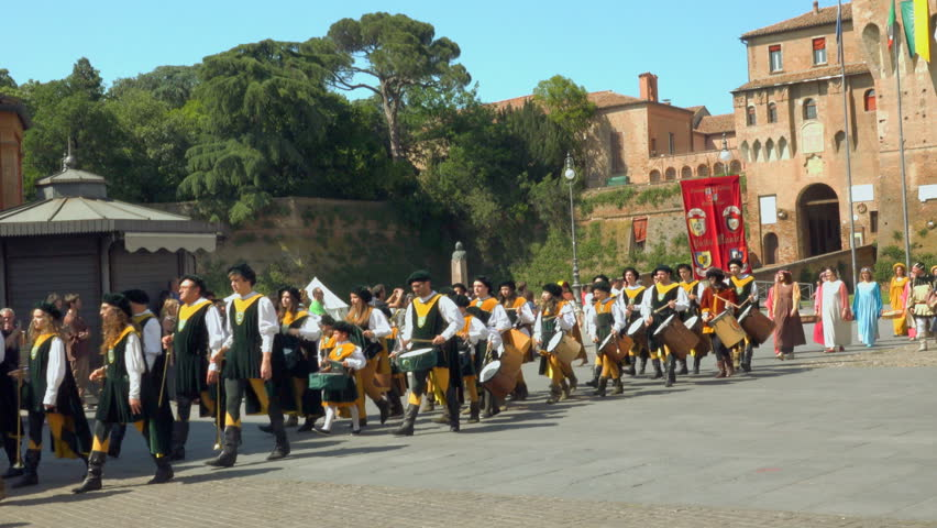 LUGO (RA), ITALY - MAY 20, 2018: actors walk in medieval parade under castle