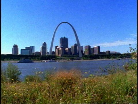 ST. LOUIS, 1999, St. Louis Arch, with skyline, Mississippi River, grass flowers foreground
