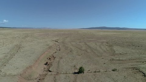 Aerial over ruts from historic Sante Fe Trail in New Mexico near Ft. Union