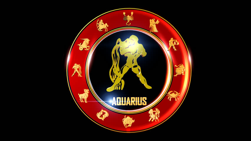 Aquarius  Zodiac sign   It`s Nice rotating 3d golden Zodiac sign (Indian astrology) with transparency
