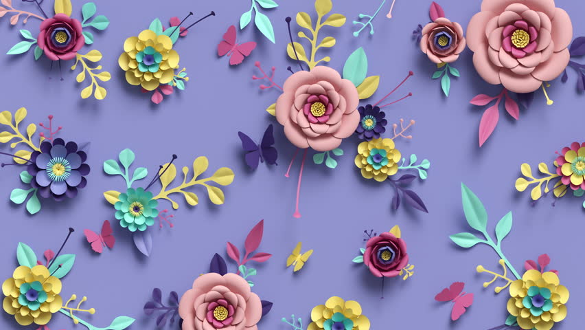 3d rendering, animation of floral background, blooming paper flowers, botanical pattern growing, paper craft, candy pastel colors, bright hue palette | Shutterstock HD Video #1011557303