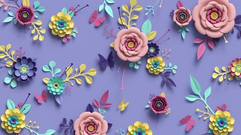 3d rendering, animation of floral background, blooming paper flowers, botanical pattern growing, paper craft, candy pastel colors, bright hue palette