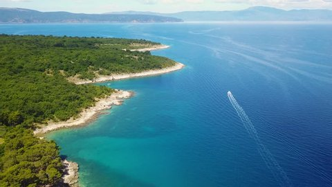 Panoramic view if seascape of Krk Island in Croatia