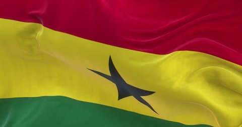 Loopable full screen Ghana flag is waving in slow motion. 3d rendering.