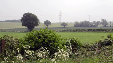 Windy Day In Gloucestershire Field, Misty English Sky Before Rain, shallow depth of field