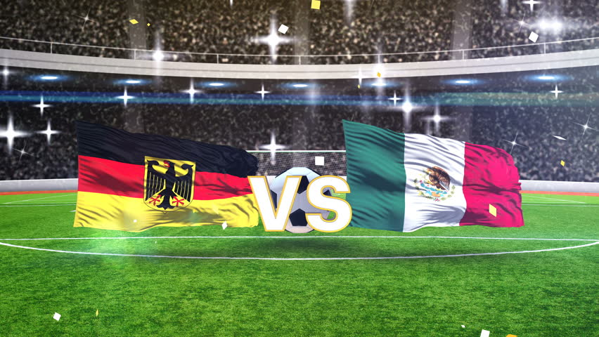 3D animation of Germany vs Mexico with soccer ball | Shutterstock HD Video #1011610853