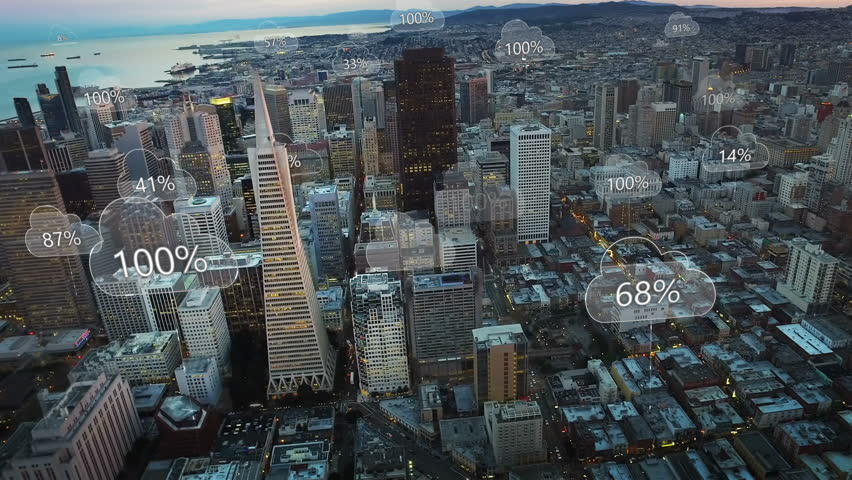 Aerial smart city. Network connections and cloud computing icons with percentages. Technology concept, data communication, artificial intelligence, internet of things. San Francisco skyline. | Shutterstock HD Video #1011621653