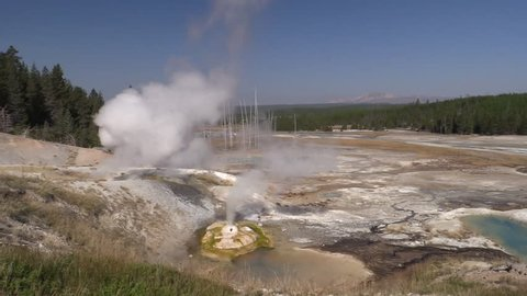 Mountain Yellowstone National Park in Fall Steam Geyser Vulva in Wyoming