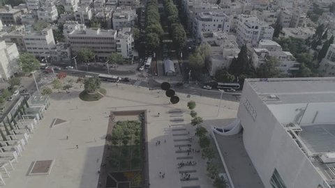 Aerial panoramic view on Rothschild boulevard and Habima square in Tel Aviv