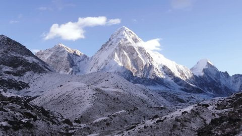 Magnificent view of Pumo Ri peak (7161 m) in Nepal, Himalayas mountains. Time lapse.