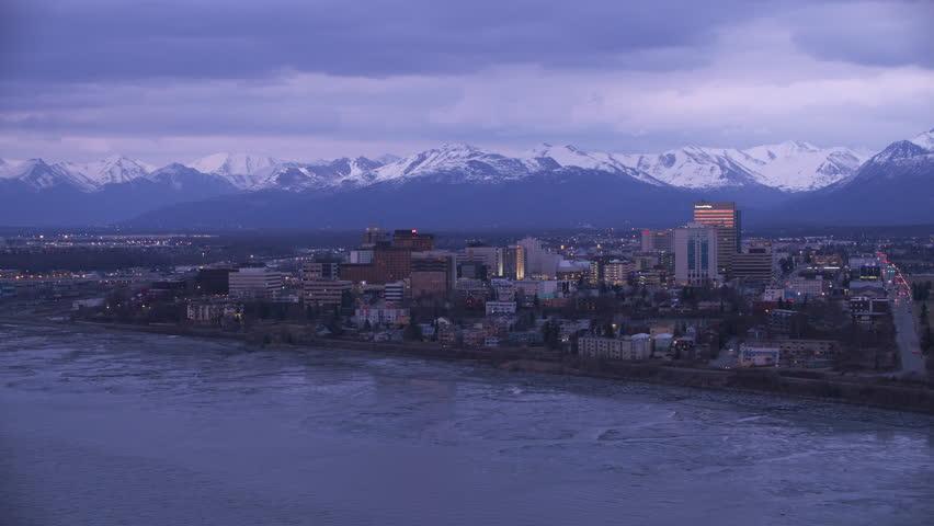 Anchorage, Alaska circa-2018. Aerial view of Anchorage, Alaska at dusk.