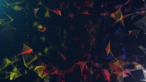Plexus Network Background.  Colorful Plexus. Abstract Cinematic Backgrounds.