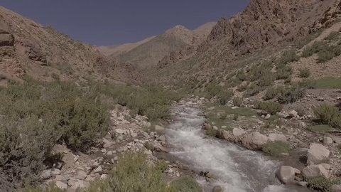 Aerial scene with drones. Camera forward on river between mountains. Mendoza - Argentina