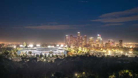 Timelapse Of Dodger Stadium And Downtown Los Angeles Skyline At Night