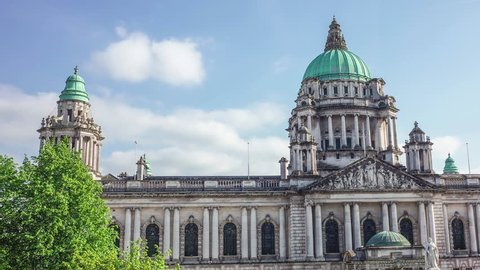 BELFAST, NORTHERN IRELAND- MAY, 2018: Time lapse of Belfast City Hall, the home of the Belfast City Council on Donegall Square