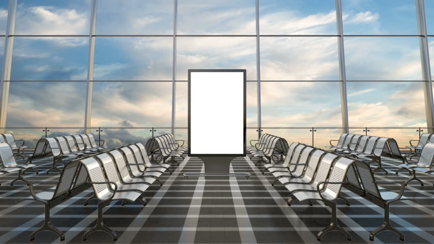 Airport departure lounge. Blank billboard stand mockup and airplane on background.