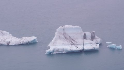 Anchorage, Alaska circa-2018. Aerial view of floating icebergs near Anchorage, Alaska. Shot from helicopter with Cineflex gimbal and RED Epic-W camera.