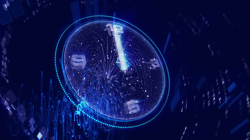 A wonderful 3d rendering of a shimmering blue clock twirling left and right with white second, minute and hour arrows turning around quickly. They remind us that life is short. | Shutterstock HD Video #1011746483