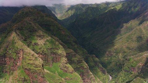 Kauai, Hawaii circa-2018, Aerial view of Kauai canyons. Shot with Cineflex and RED Epic-W Helium.