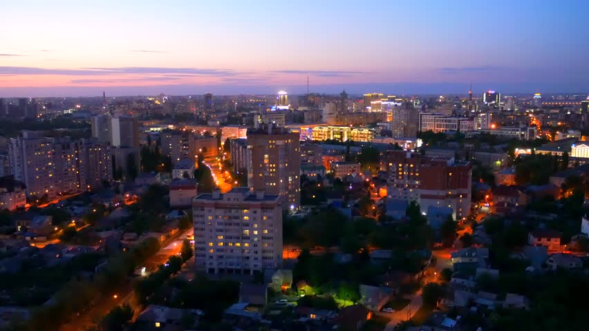 Aerial view from rooftop of night city Voronezh, panorama cityscape, toned | Shutterstock HD Video #1011785423