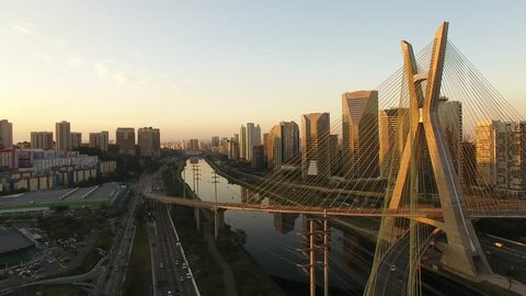 Drone view of the Octávio Frias de Oliveira Bridge, built in 2008, over the Pinheiros River - the cable-stayed bridge is a landmark of São Paulo, Brazil's biggest city