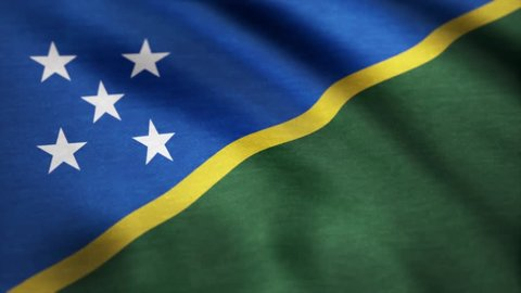 Solomon Islands flag waving in the wind. Background with rough textile texture. 4K Seamless Loopable Flag of Solomon Islands. Animation loop