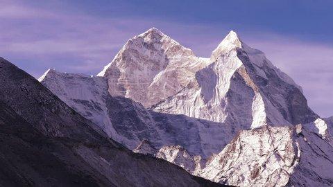 Panorama pf Kangtega peak (6782 m) at sunrise. Nepal, Himalayas mountains.