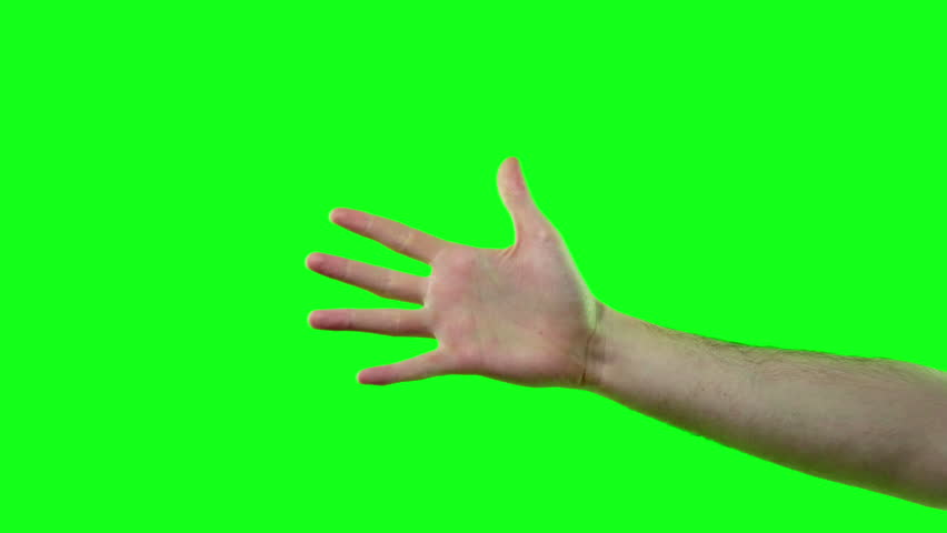 Open and Closing Palm of Hand on Chroma Key Green Screen Set.