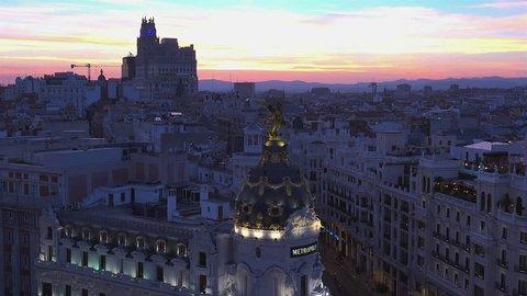 Madrid observation deck Gran Via Metropolis sunset panorama 4k, real time