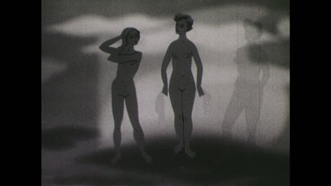 1940s: Illustration of naked girl and two naked women. Midriff of woman. X-ray view of woman's bones.