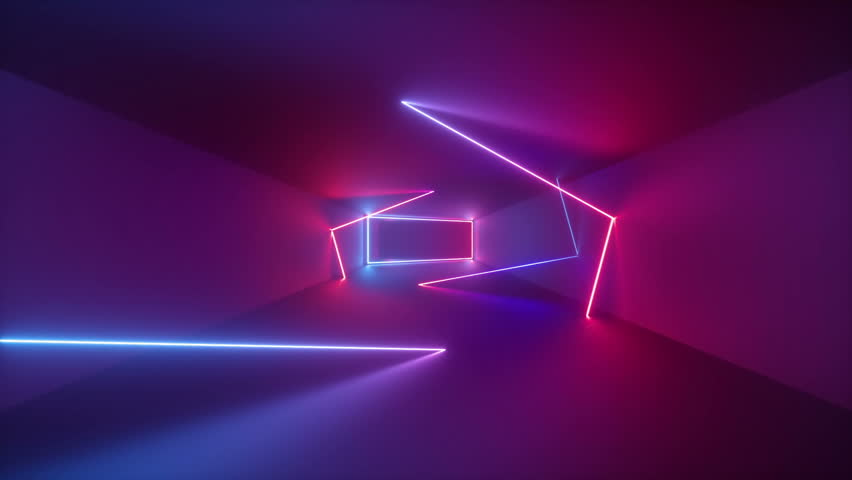 3d render, abstract seamless background, looped animation,  fluorescent ultraviolet light, glowing neon lines, moving forward inside endless tunnel, blue pink spectrum, modern colorful illumination