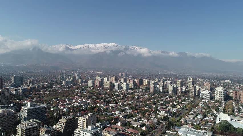 Aerial view of a park and city in Santiago, Chile | Shutterstock HD Video #1011855023
