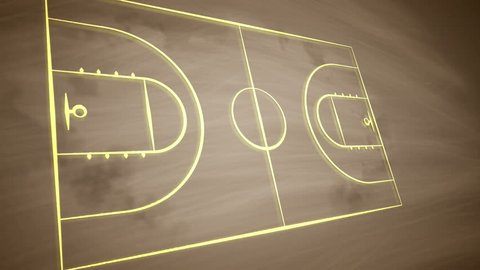 An exciting 3d rendering of a basketball field placed askew and covered with crosses, zeroes and arrows. It shows how the team should play together to outwit the rival players.