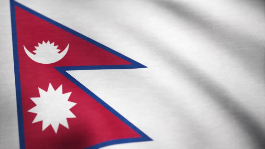 Nepal flag pattern on the fabric texture ,vintage style. Nepal flag fabric flag