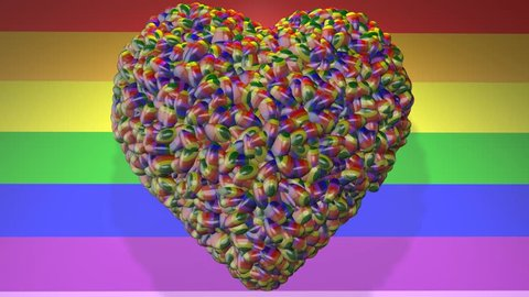 Gay Pride Love Hearts spinning on rainbow background 3d render.
