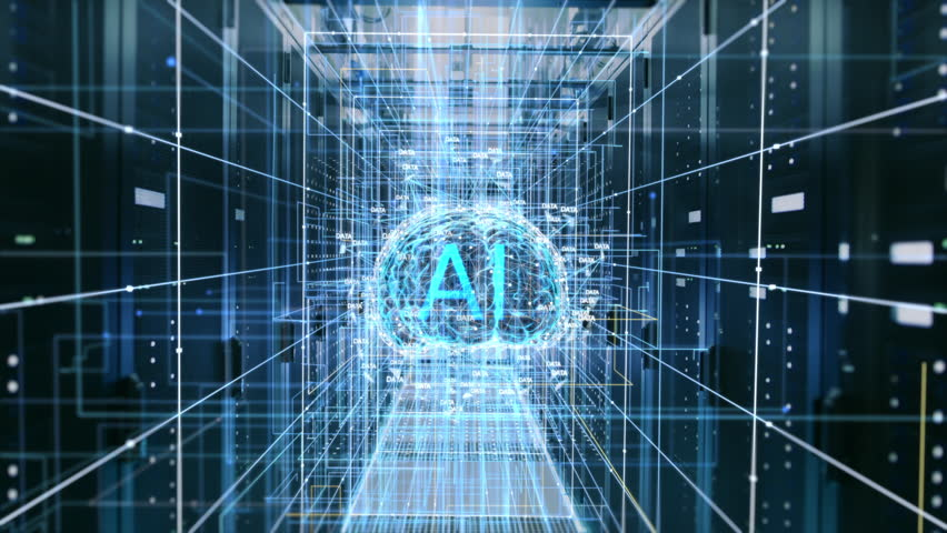 The Concept of Digital Brain: Abstraction of Functional Artificial Intelligence in the Data Center with Streams of Information Going through It. AI Letters inside the Brain. Shot on RED EPIC-W 8K. | Shutterstock HD Video #1011929003