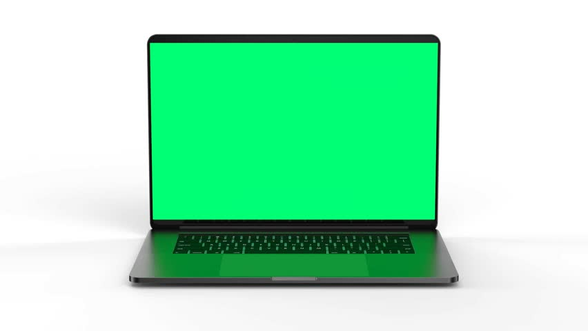Laptop with blank screen isolated on white background. Whole in focus. High detailed. #1011961163