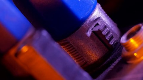 Macro shot of input and output xlr microphone cable jack at music equipment