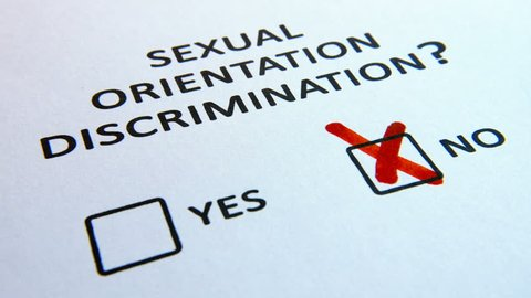 Sexual Orientation Discrimination questionnaire with checkbox