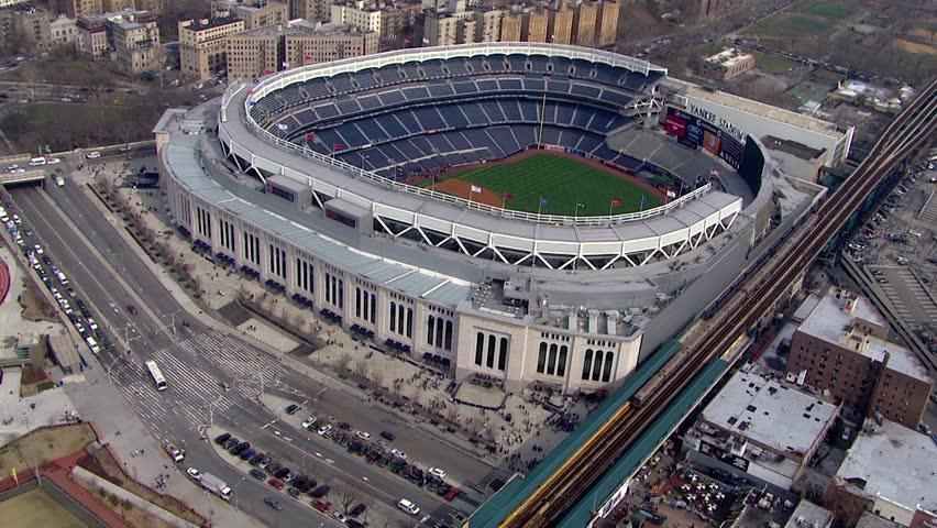 Bronx, NY - April 2015: Aerial circle overhead Yankee Stadium. Home of famous world series champions New York Yankees baseball team