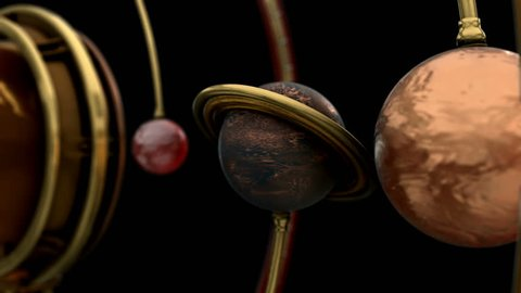 Planet with the rings in a 3d planetary lineup. 4K animation for Science fiction movies, TV shows, intro, news, commercials, retro, fantasy, steampunk related projects etc. Includes ALPHA MATTE.