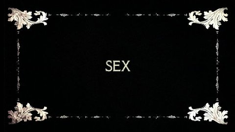 A re-created film frame from the silent movies era, showing intertitle text messages: Sex, Porn, XXX.