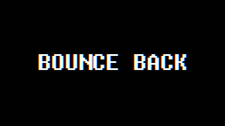 Retro videogame BOUNCE BACK word text computer tv glitch interference noise screen animation seamless loop New quality universal vintage motion dynamic animated background colorful joyful video m | Shutterstock HD Video #1012022273